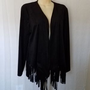 Black Suede Look/Feel Boho Fringe Open Front Jacke